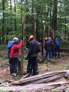 boy scouts building deer exclosure